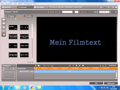 Motion Titel Text in Pinnacle Studio 14 und 15
