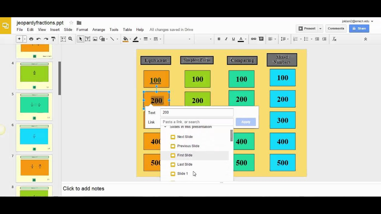 Creating Jeopardy Review Using Google Slides