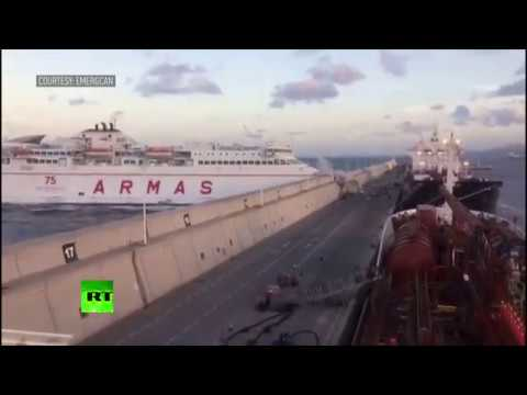 Moment Canary Islands ferry smashes into pier caught on camera