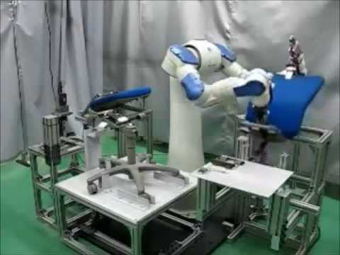 Motoman dual arm robot assembling a chair
