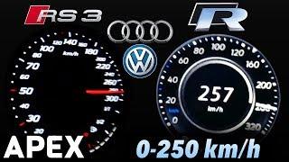 Download Video 2018 VW Golf R vs. Audi RS3 - Acceleration Sound 0-100, 0-250 km/h | APEX MP3 3GP MP4
