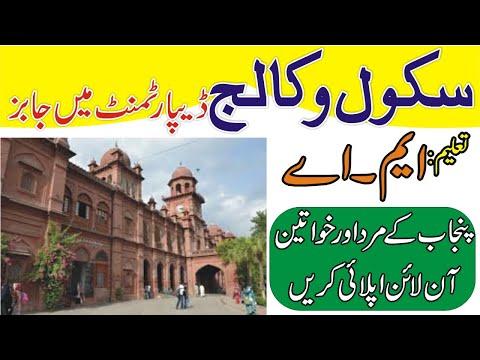 School Education Department Punjab Jobs | Punjab Education Jobs 2020 | Govt Punjab School Jobs