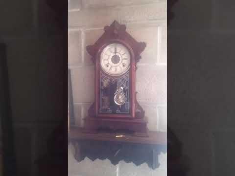 Antique 1881 Waterbury Kenmore clock striking noon.