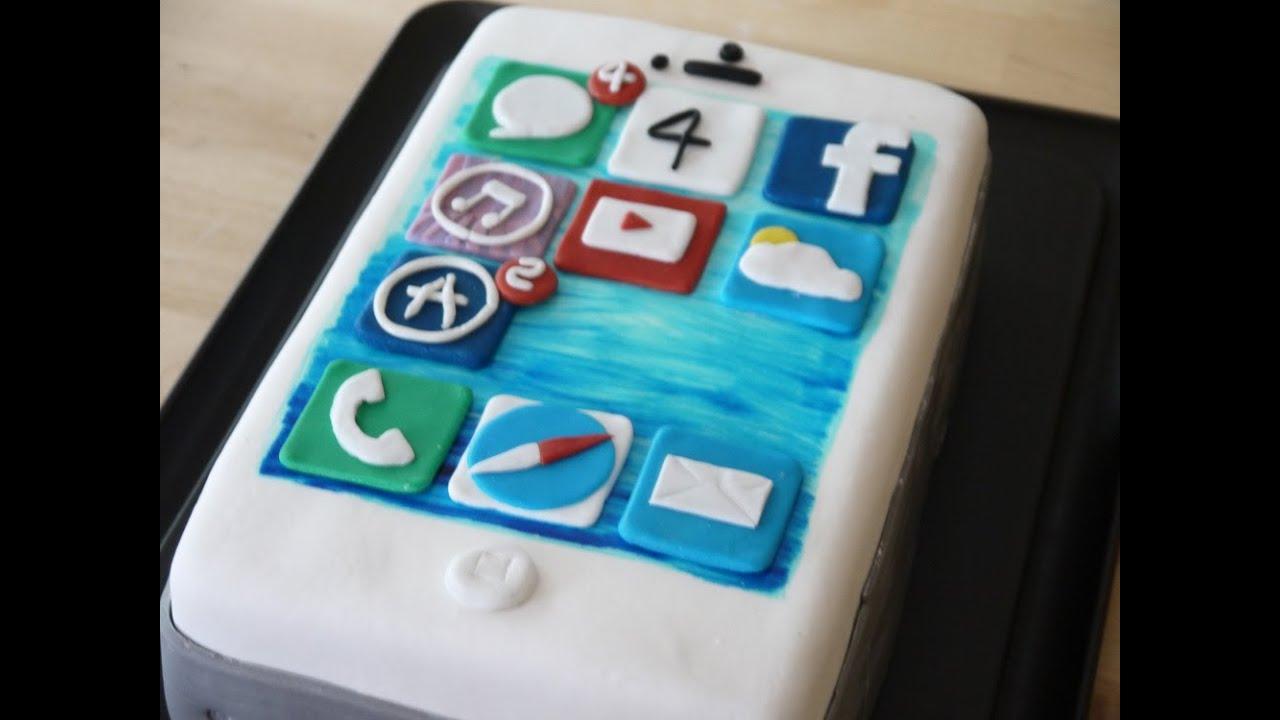 Anleitung f r eine iphone torte teil 1 torte backen for Kuchendeko foto