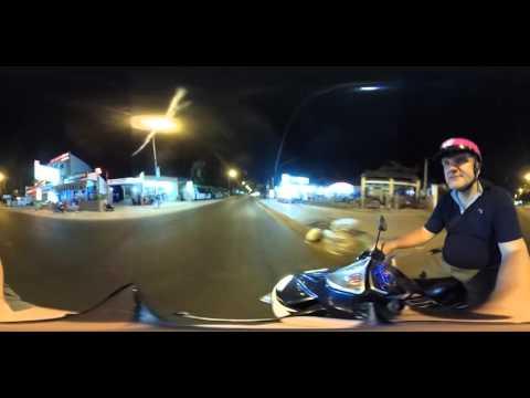 Entire Mui Ne Main Road. Evening ride (360 video)