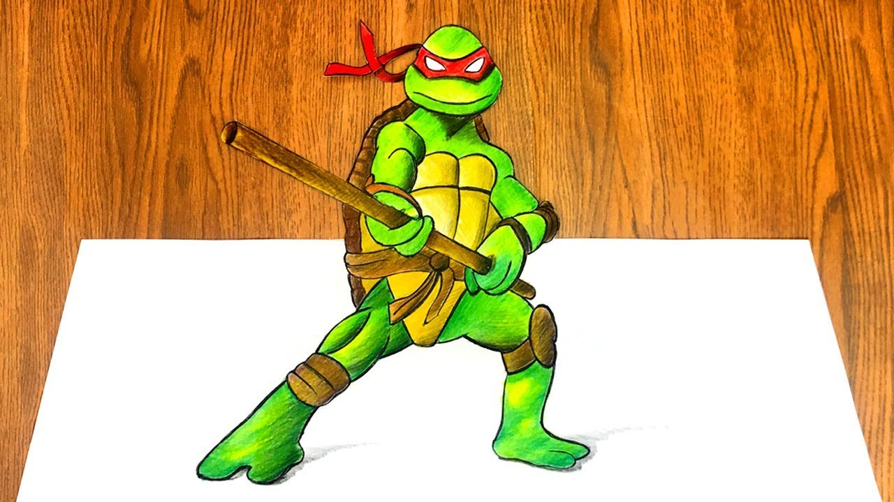 Como Dibujar Rafael En 3d Las Tortugas Ninjas Videos Para