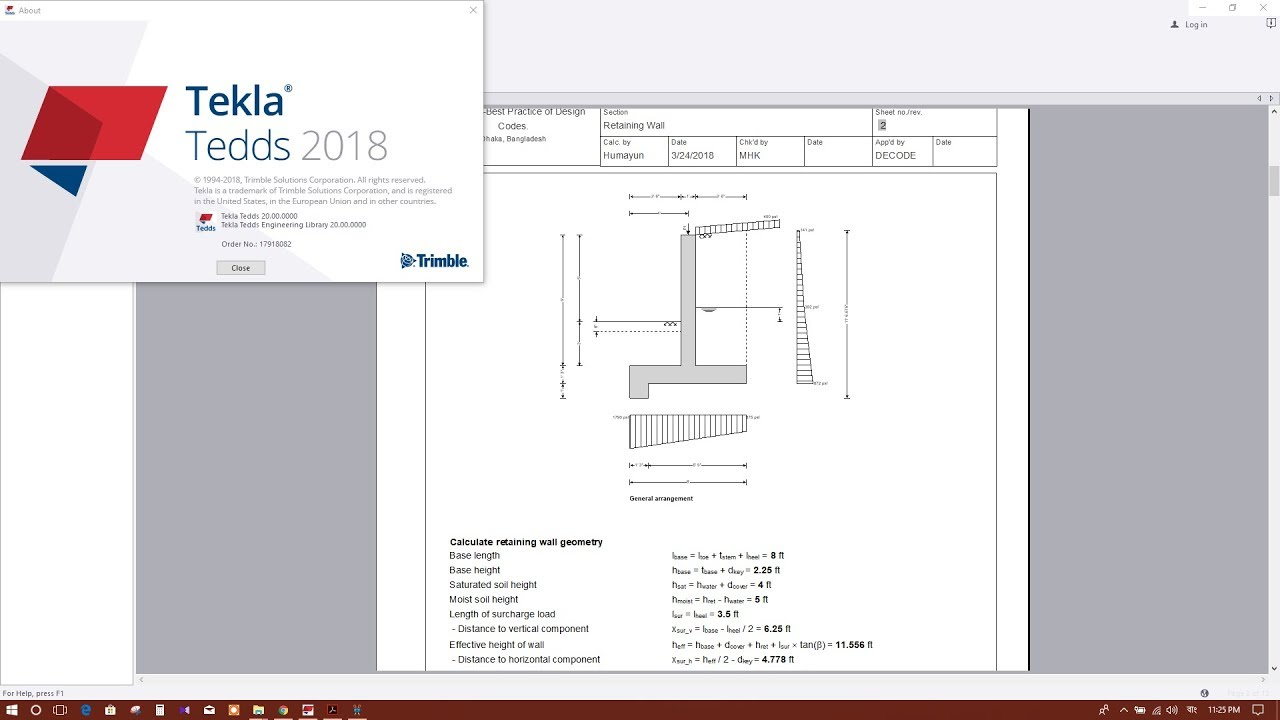TEKLA TEDDS 2018: RETAINING WALL DESIGN EXAMPLE.