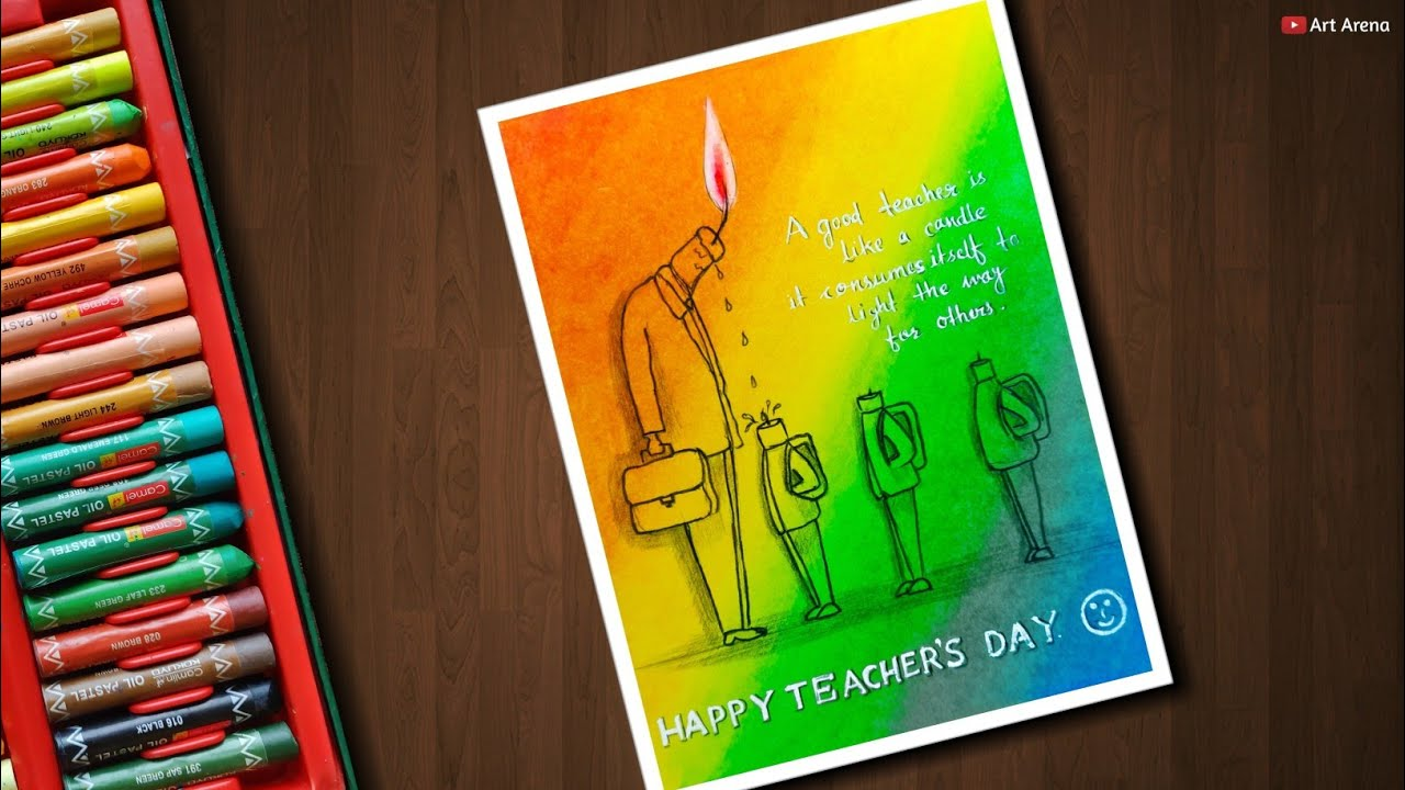 Easy teachers day drawing card with oil pastels for beginners step by step