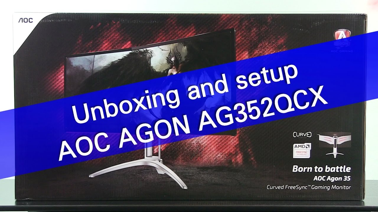 AOC AGON AG352QCX gaming monitor unboxing and setup