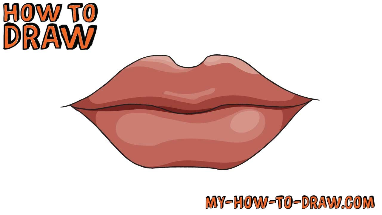 How to draw Lips - SUPER EASY step-by-step drawing ...