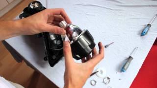 retrofitting mini h1 bi xenon projectors motorcycle headlight installation video   retrofitlab com