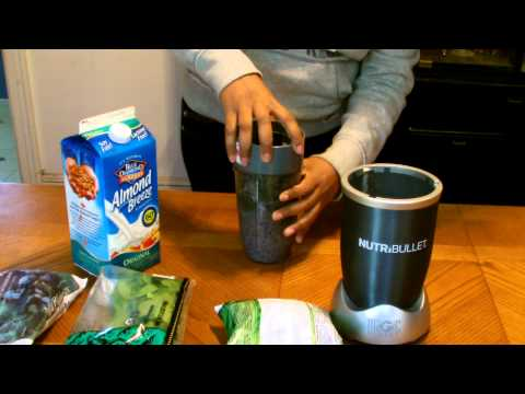 Nutribullet green smoothy and almond milk drink recipe