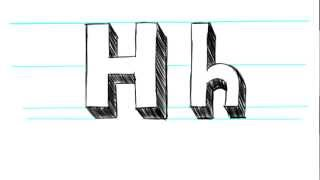How to Draw 3D Letters H - Uppercase H and Lowercase h in 90 seconds
