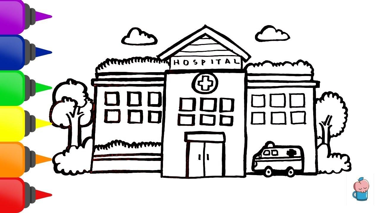 Cara Menggambar Dan Mewarnai Rumah Sakit Youtube