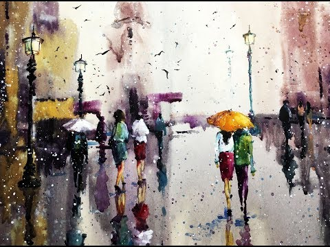 "''Rain of colors"" Watercolor professional painting"
