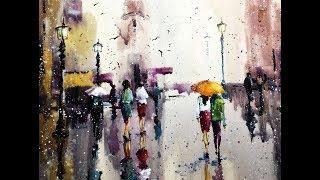 "''Rain of colors"" Watercolor professional painting"
