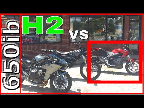 Zero SR electric motorcycle SMOKES Ninja H2!!!