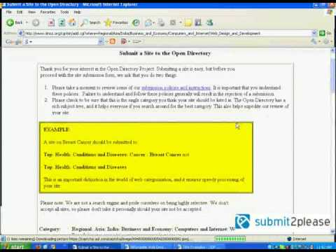 Dmoz Submission Video