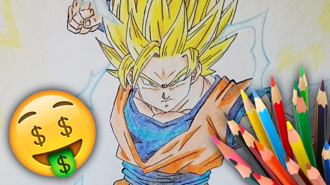 Cómo dibujar a Goku SSJ2 con los MATERIALES MÁS BARATOS