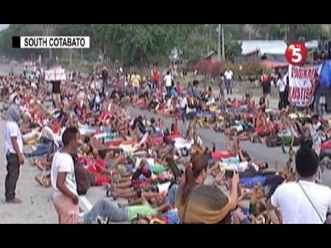 Daan-daang magsasaka sa Koronadal City, humiga sa kalsada bilang protesta