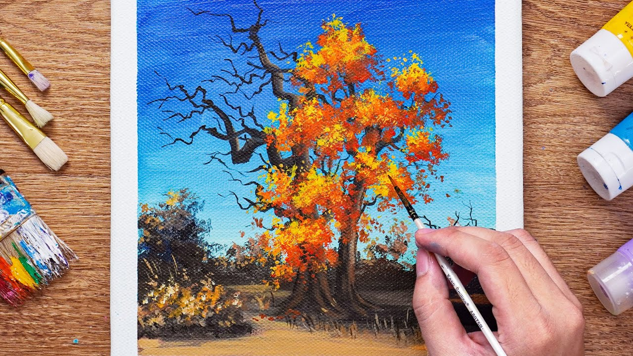 Autumn Tree Landscape / Acrylic Painting - Daily Art 111
