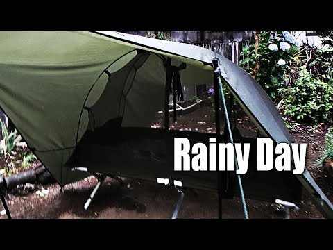 US Military Cot, British Army Mosquito Tent, Tarp On A Rainy Day