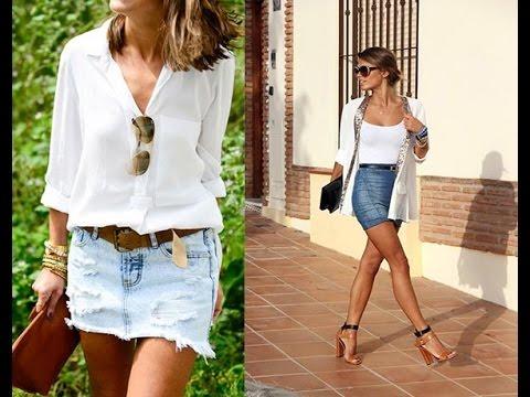 Denim mini skirt outfit ideas - YouTube