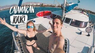 Our Sailing Adventure BEGINS! Catamaran Boat Tour (Mediterranean Cruise Part 1 w/ MedSailors)
