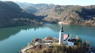 Slovenia - Winter in 4K. Flight over Bohinj and Bled.
