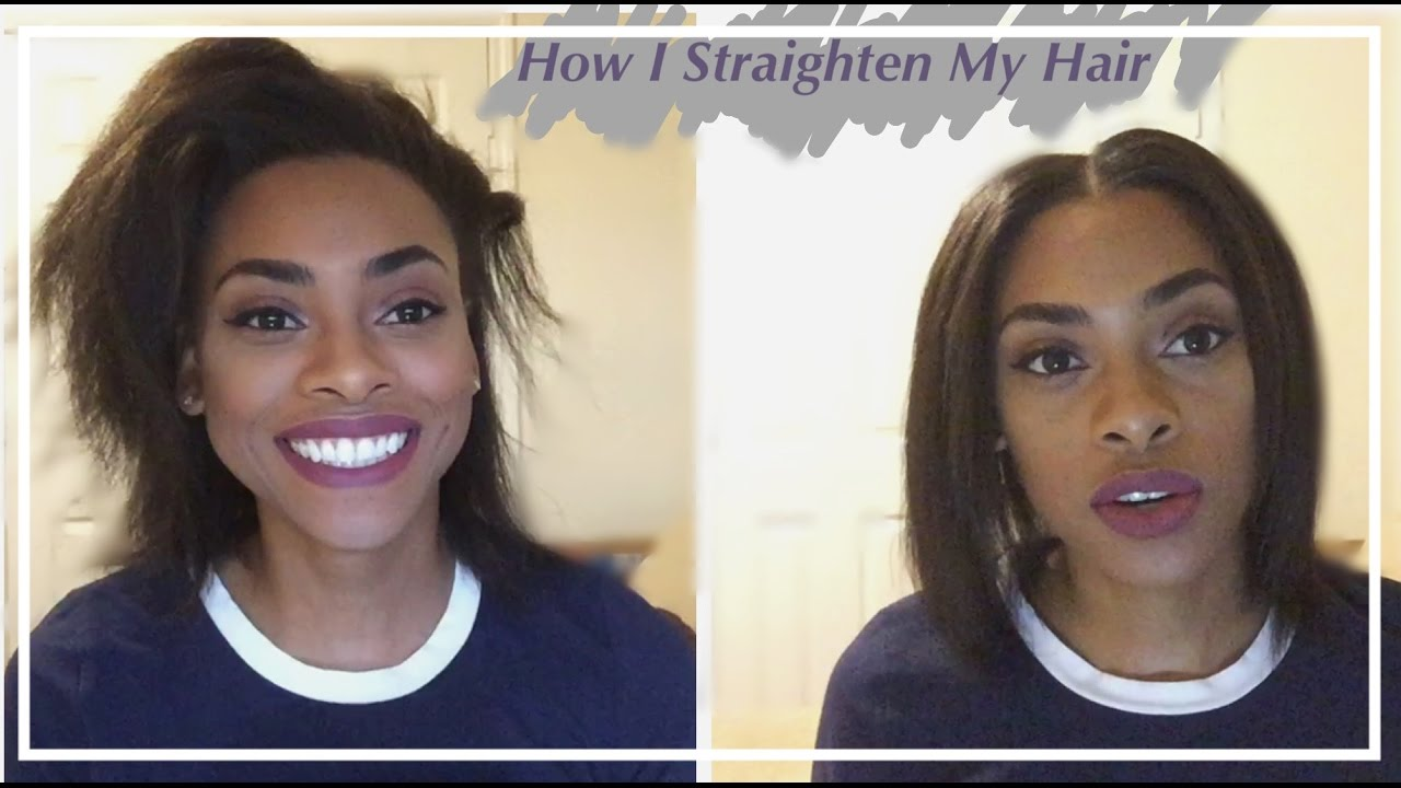 How I Straighten My Shoulder Length Relaxed Hair Youtube