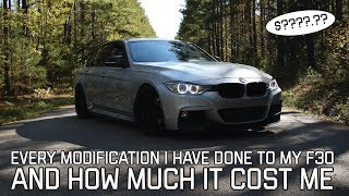 EVERY MODIFICATION I'VE DONE TO MY F30 /// HOW MUCH I'VE SPENT SO FAR!!