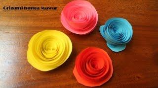 Langkah Origami Bunga Mawar Dengan Digulung papercraft