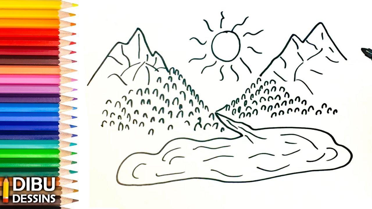 Comment dessiner une montagne dessin de montagne youtube - Dessin de montagne ...