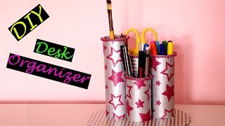 DIY Desk Organizer | Toilet Roll Pencil Stand | Back to School Supplies | Little Crafties