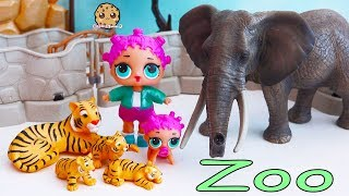 Baby Animals At Zoo - LOL Surprise Lil Sisters Fun Playmobil Toy Video