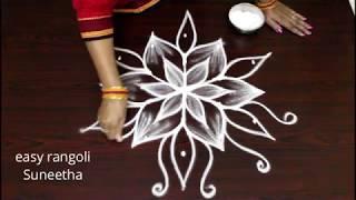 Beautiful & simple kolam designs with 5 dots || easy rangoli || new muggulu