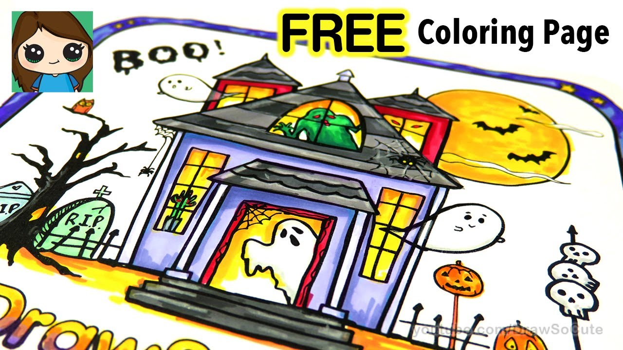 Free Coloring Page And Color With Me Haunted House Youtube