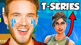 I Played on PewDiePie's Fortnite Account & T-SERIES Joined...