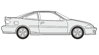 How to Draw a Chevrolet Cavalier Coupe / Как нарисовать Chevrolet Cavalier Coupe