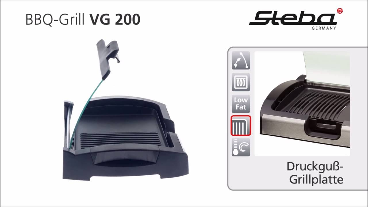 steba bbq table grill vg 200 - youtube