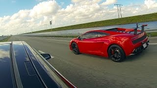 tesla model s p85d vs lamborghini lp570 4 super trofeo stradale drag racing