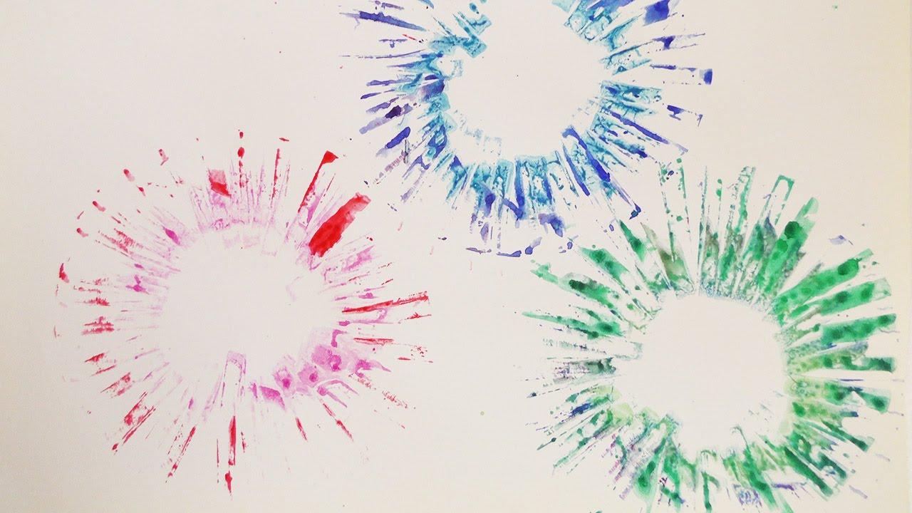 Buntes Feuerwerk Malen Farbexplosionen Auf Papier Tupfen Und