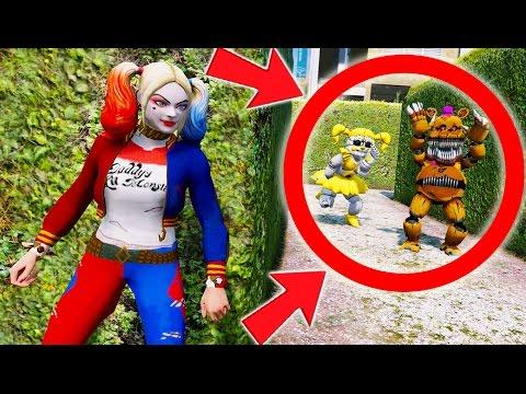 CAN HARLEY QUINN HIDE FROM GOLDEN BABY & NIGHTMARE FREDBEAR? (GTA 5 Mods For Kids FNAF)