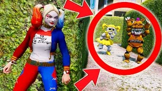 CAN HARLEY QUINN HIDE FROM GOLDEN BABY & NIGHTMARE FREDBEAR? (GTA 5 Mods For Kids FNAF)