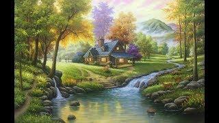 Tranh sơn dầu ngôi nhà hạnh phúc giữa rừng , cảnh đẹp được mơ ước . (bản 2 nhanh)