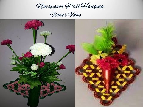 making a wall hanging flower vase using newspaper youtube