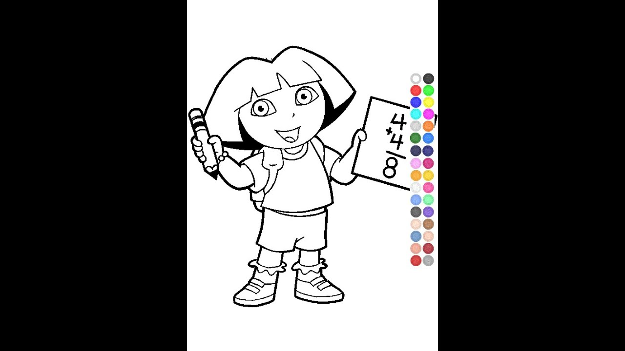 Little Kids Coloring Games - Dora Coloring Games - YouTube