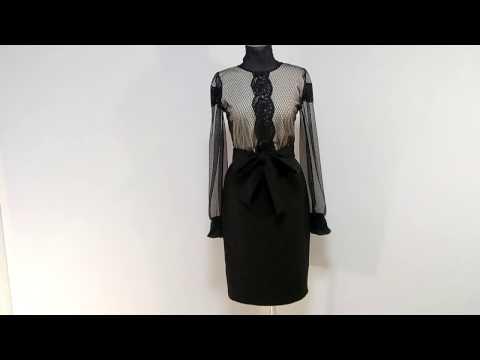 Черно-бежевое платье в стиле винтаж