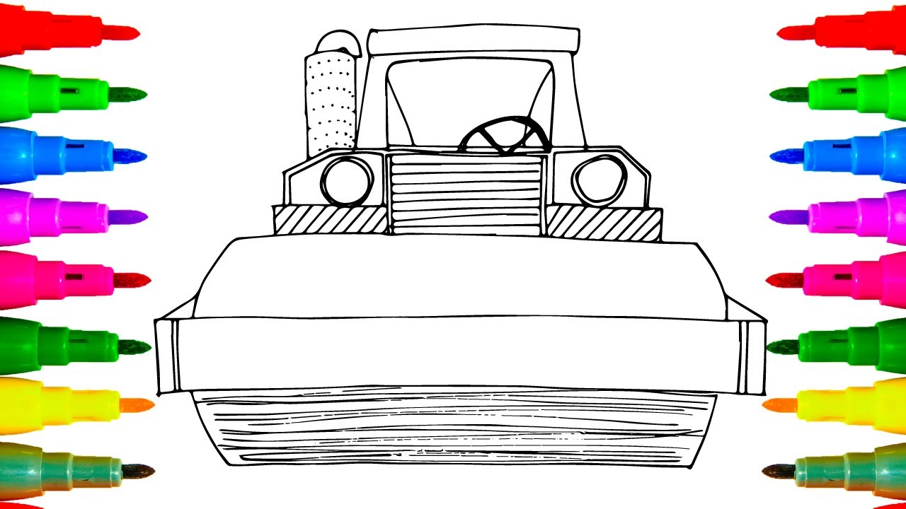construction truck roller drawing and coloring for kids coloring