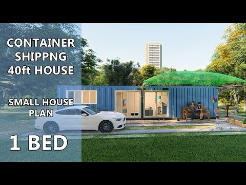Container House Design: Small House With Container Shipping 40ft – 1 Bed